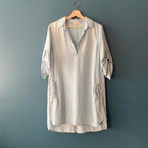 Anthro Cloth & Stone Polka Dot Chambray Dress